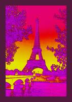 Eiffel Tower Paris France Enhanced 4 dark border