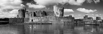 Caerphilly Castle Panorama Monochrome