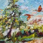 """""""Scarlett Ibis Tropical Summer Wildlife Scene"""" by GinetteCallaway"""