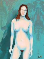 Female Nude Blue With Red Hair - G Linsenmayer