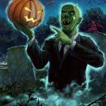 """Halloween Ghoul rising from Grave with pumpkin"" by martindavey"