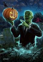 Halloween Ghoul rising from Grave with pumpkin