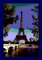 Eiffel Tower Paris France enhanced with indigo bor
