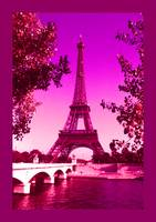 Eiffel Tower Paris France Enhanced Magenta border