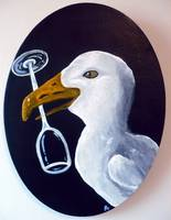 Seagull with Wine Glass