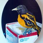 """Baltimore Oriole with Medium Flat Rate Box"" by Polylerus"