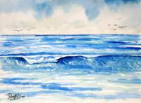 blue waves painting art print