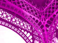 Eiffel Tower Paris France Arch Detail Pink Violet