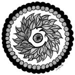 """Leaf Mandala in Black and White"" by Heartworks"