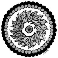 Leaf Mandala in Black and White
