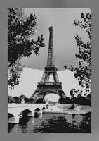 Eiffel Tower Seine River Enhanced border B&W