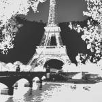 """Eiffel Tower Seine River Enhanced B&W negative cro"" by TheNorthernTerritory"