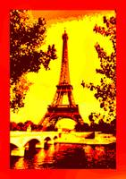 Eiffel Tower Paris Seine River enhanced Yellow Ora