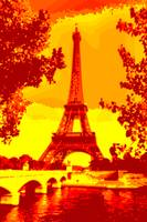 Eiffel Tower Paris Seine River yellow, orange brow