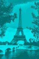 Eiffel Tower Paris Seine River Enhanced blue