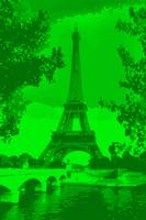 Eiffel Tower Paris Seine River Enhanced Green