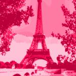 """Eiffel Tower Seine River enhanced dark pink red"" by TheNorthernTerritory"