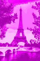 Eiffel Tower Seine River bridge Enhanced Violet pi
