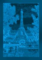 Eiffel Tower Seine River Enhanced Blue