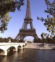 Eiffel Tower Seine River Paris France cropped