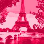 """Eiffel Tower Seine River Enhanced Dark Pink Red cr"" by TheNorthernTerritory"
