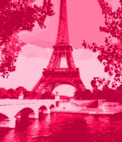 Eiffel Tower Seine River Enhanced Dark Pink Red cr
