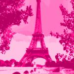 """Eiffel Tower Seine River Enhanced Pink Dark Red"" by TheNorthernTerritory"
