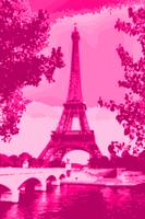 Eiffel Tower Seine River Enhanced Pink Dark Red