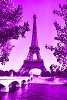 Eiffel Tower Seine River Violet