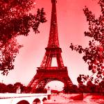 """Eiffel Tower Pair Seine River bridge red"" by TheNorthernTerritory"