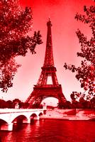 Eiffel Tower Pair Seine River bridge red