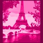 """Eiffel Tower Seine River Enhanced Pink Cropped bor"" by TheNorthernTerritory"