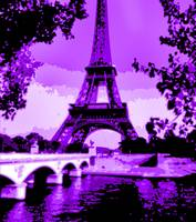 Eiffel Tower Seine River Enhanced Violet Cropped