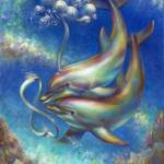 """212-Infinity-Dolphins at Play"" by nancytilles"