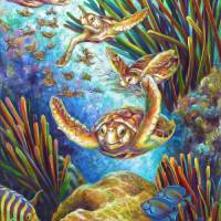 Four Loggerhead Sea Turtles by Nancy Tilles