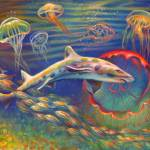"""207-LeopardSharkJellyfish-Morgret"" by nancytilles"