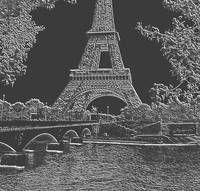 Eiffel Tower Seine River Charcoal Light Grey Neg C