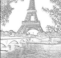 Eiffel Tower Seine River Charcoal Cropped x 2