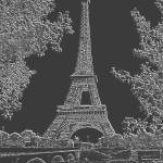 """Eiffel Tower Seine RIver Light Grey Charcoal"" by TheNorthernTerritory"