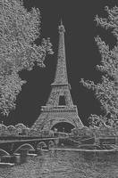 Eiffel Tower Seine RIver Light Grey Charcoal
