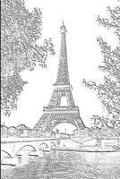 Eiffel Tower Seine River Charcoal