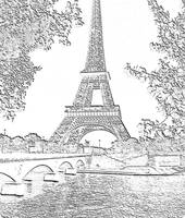 Eiffel Tower Seine River Charcoal Cropped