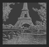 Eiffel Tower Seine River Charcoal Neg Cropped X 2