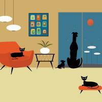 """Mid Century Dogs and Cats"" by DMibus"