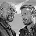 """Walter White and Jesse Pinkman (black and white)"" by KellyEddington"