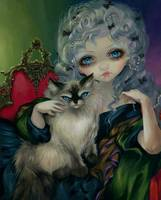 Princess with a Ragdoll Cat
