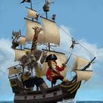 """Cartoon Animal Pirate Ship"" by martindavey"