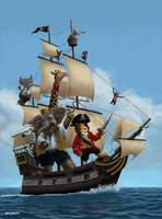 Cartoon Animal Pirate Ship