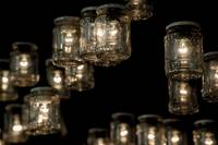 Jars with light bulbs inside