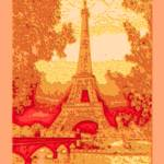 """Amber Abstract Decorative Eiffel Tower Seine River"" by TheNorthernTerritory"